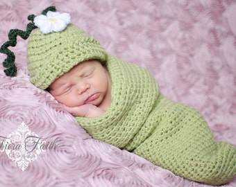 Baby CROCHET PATTERN - Sweet Pea Beanie & Cocoon - baby sleep sack baby hat crochet beanie newborn photo prop PDF pattern instant download