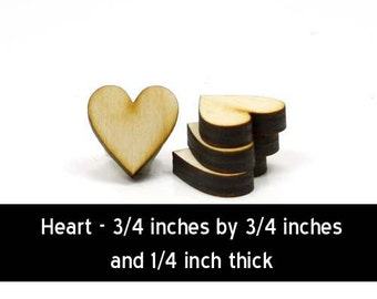 Unfinished Wood Heart - 3/4 inches tall by 3/4 inches wide and 1/4 inch thick wooden shape (HRT11B)