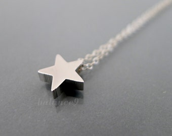 Silver star necklace,  sterling silver chain, small charm necklace, minimalist simple star pendant,delicate jewelry gift, by balance9