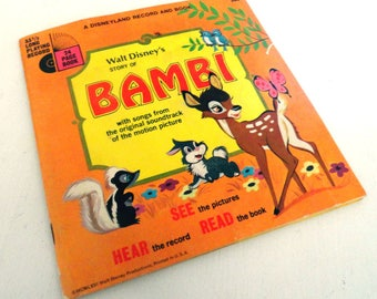 Vintage Walt Disney's The Story of Bambi Book and Record