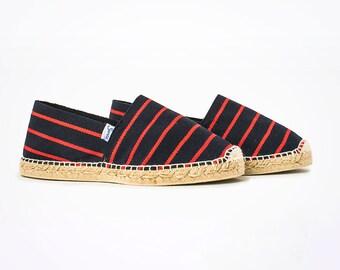 Santorini Red&Blue - Espadrilles, Natural cotton, Handmade espadrilles, Vegan, Comfort, Cotton, Jute, Spring, Summer shoes, Suneashop, SUNEA