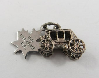 Stagecoach to the 100 Mile House in British Columbia Canada Sterling Silver Charm or Pendant.