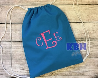 Canvas Monogrammed Drawstring Backpack