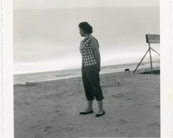 vintage photo 1950s Pedal Pusher Lady Looks to Ocean Sunset from Back square snapshot