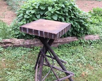 Folk art twig table with silver stripes