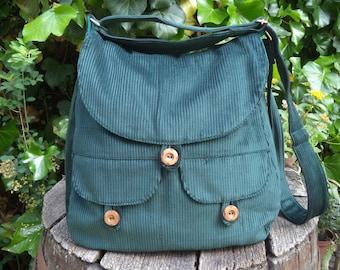 Corduroy messenger bag,buttoned big bag