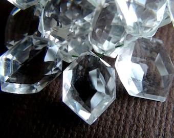 Rock Crystal Quartz Concave Cut Octagon Shaped Briolette