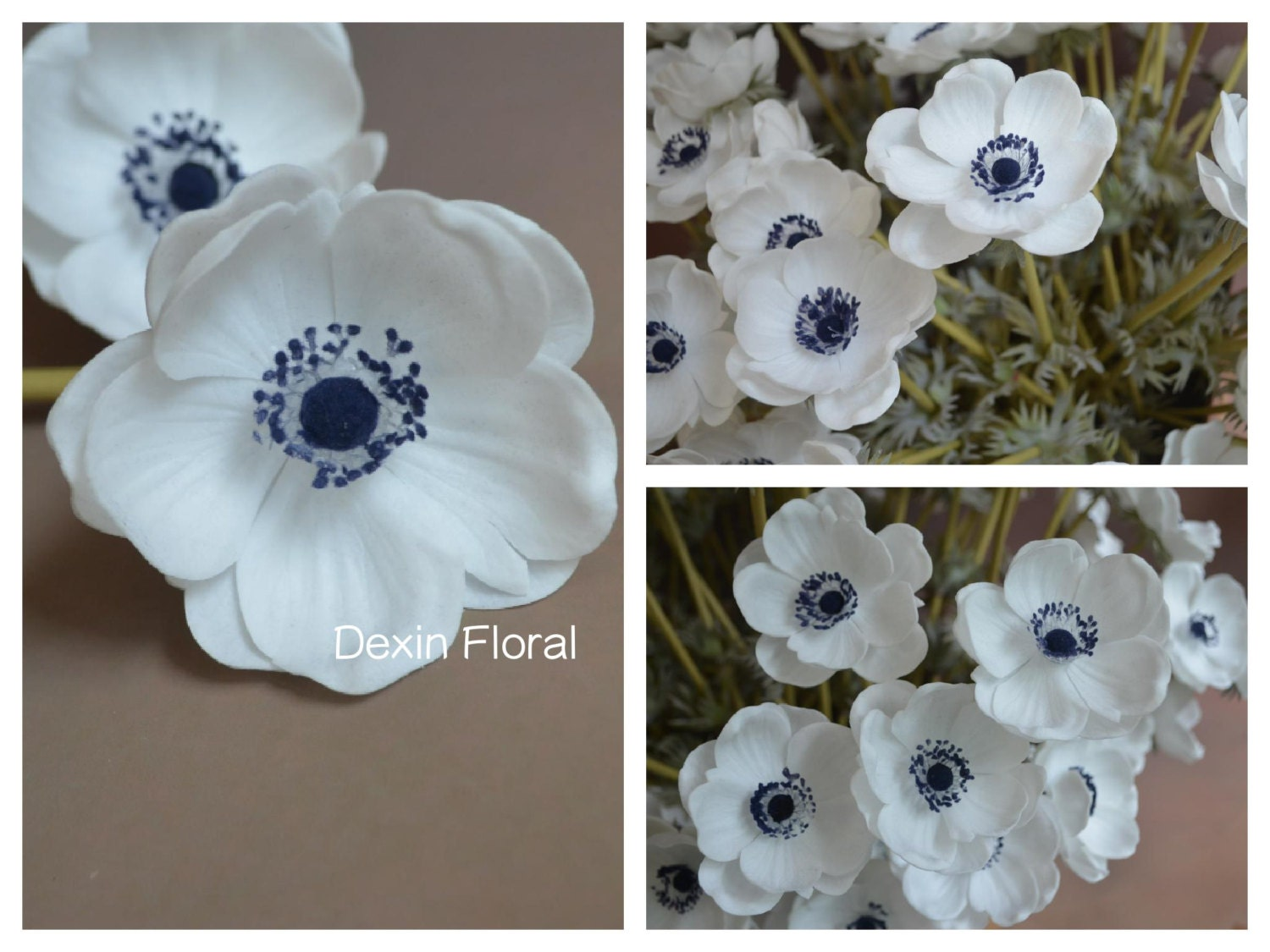 Natural Real Touch Not Silk White Anemones Deep Blue Center