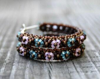Flowers Hoop Earrings, Big Hoop Earrings, Large Hoop Earrings, Large Earrings, Beaded Earrings, Beadwork Jewelry, Native American Beadwork