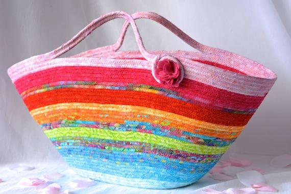 Textile Art Basket, Handmade Batik Fabric Basket, Rainbow Tote Bag, Laptop Case, Unique Basket, Baby Shower Gift Basket