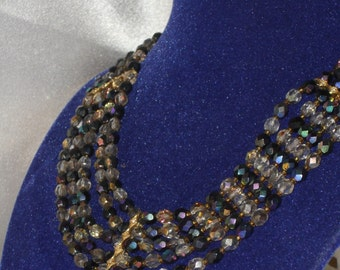 marquise Necklace: glass of Bohemian black and silver