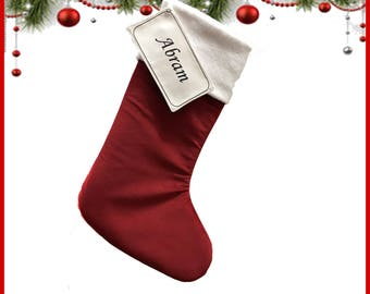 Red Peraonalized Christmas Stockings - RED - Christmas Stockings - white cuff