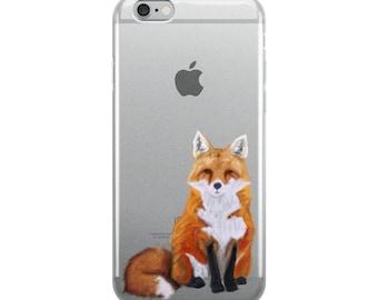 Cute red fox digital painting print iPhone Case, fox iPhone case, for iPhone 6 Series to iPhone 10 Series