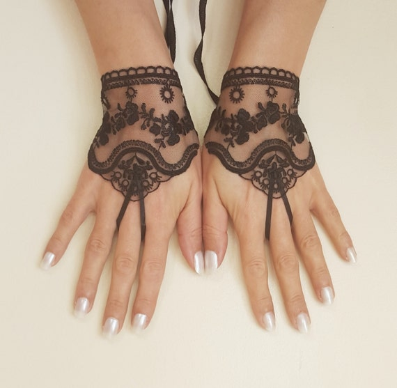 Black or ivory light beige tulle lace glove embroidery bridal for Lace glove tattoo