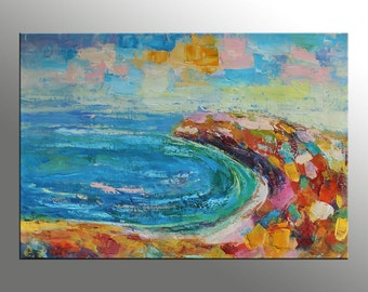 Original Oil Painting, Contemporary Painting, Canvas Wall Art, Abstract Canvas Art, Seascape, Large Canvas Painting, Oil Painting Landscape