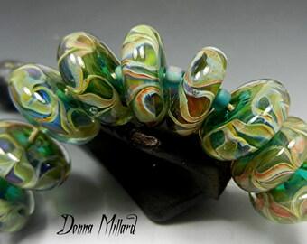 14 SRA Handmade Lampwork Glass Bead Set DONNA MILLARD blue green orange blue aqua autumn fall winter