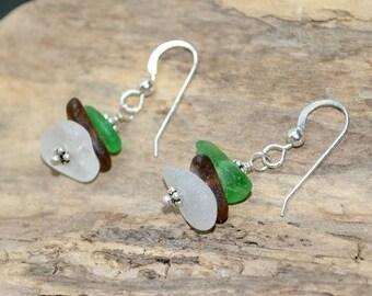 Beach Sea Glass Earrings, Seaglass Earrings, Sterling Sea Glass Earrings, Sea Glass, Seaglass, Beach Earrings, Etsy Sea Glass,