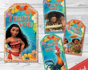 Moana Thank You Tag - INSTANT DOWNLOAD- Moana Maui Hei Hei - Disney Moana Princess
