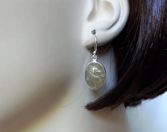 Silver rutilated quartz earrings; 92.5 sterling silver