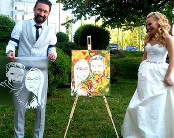 Custom Wedding Portrait from Photo, Personalized Wedding Gift, Anniversary Gift Bride and Groom Illustration Newlyweds Gift Wedding Painting