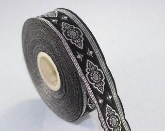 35 mm Grey Renaissance Motive ribbon (1.37 inches), european ribbon, dog colar ribbons, Sewing, Jacquard ribbon, Trim, 35905