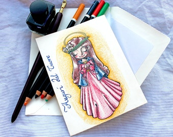 """Santa Lucia Christmas card with envelope/Merry Christmas Postcard """"Saint Lucy"""" with envelope"""