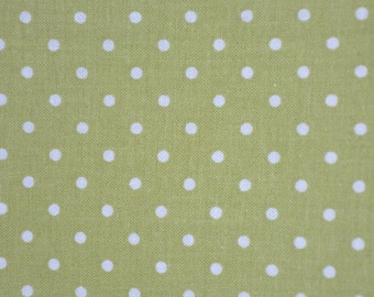 1/2 Yard of Green & White Polka Dot 100% Cotton Quilt Fabric