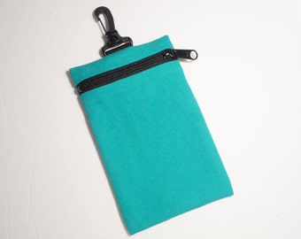 Clearance price for green clip on pouch/cell bag in jade green canvas. Handmade by RiverPurseWorks