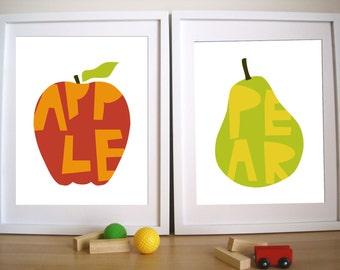 Nursery Wall Art,  Apple and Pear, 11X14 Inches, other sizes, Custom kids room decor, Nursery decor