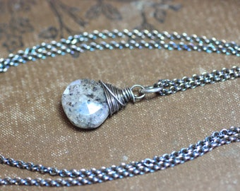 Black Moonstone Necklace Rustic Wire Wrapped Briolette Sterling Silver Chain Simple Pendant Necklace Moonstone Jewelry