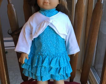 "Ruffle dress with bolero fits 18""dolls such as American girl"