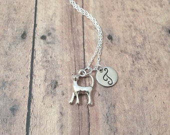 Cat initial necklace - cat jewelry, pet jewelry, feline necklace, silver cat pendant, walking cat necklace, pet cat pendant, cat gift