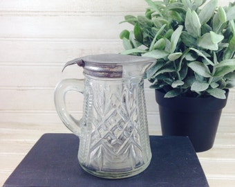 Vintage Cut Pressed Glass Syrup Pitcher