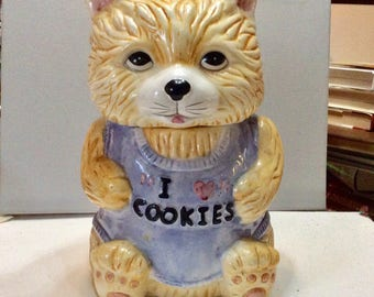 Cat kitty kitten cookie jar made in the Phillipines. 1980s.