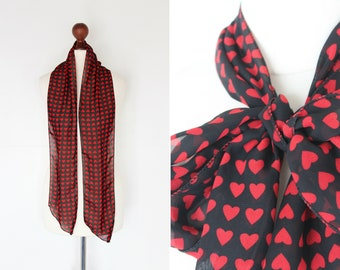 80s Black and Red Heart Print Scarf / Skinny Scarf / Graphic Print / Neck Scarf / Semi Sheer / Valentines Day / VDay / Lovehearts