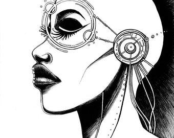 """Mind's Eye - 9""""x12"""" Original Ink Illustration"""