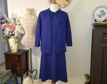 Vintage 3 piece Hand Knit Navy  Dress/Vintage Handknit Top Skirt Cardigan/Hand Knit Suit XL