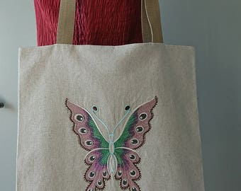 Tote bag pink butterfly and 1 linen