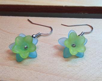Green & Blue Flower Earrings