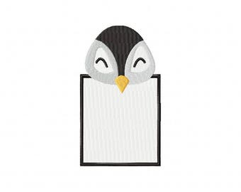 Penguin note pad notepad frame embroidery design