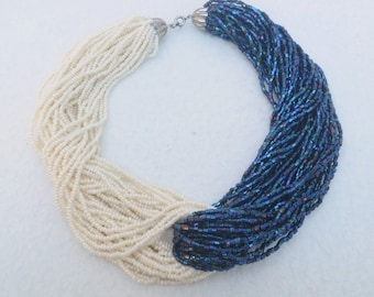 Fabulous Retro Bi-Color Dark Blue & White Multi Strands Choker Necklace