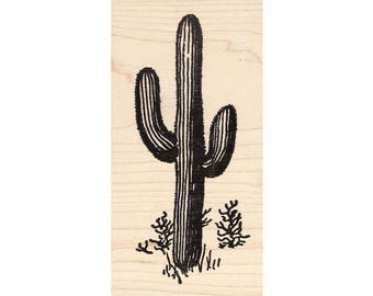 Saguaro 58H Beeswax Rubber Stamps Unmounted, Cling, Mounted Stamp Scenic, Landscape Stamping