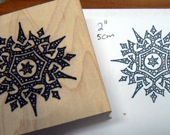 Detailed snowflake , Wood mounted rubber stamp