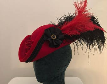 Pirate Hat Red And Black tricorn hat Ready To Ship