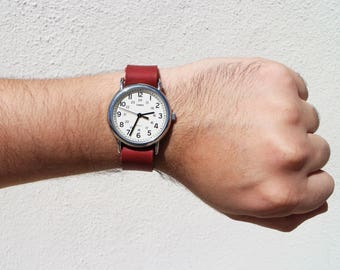Red Leather Timex Weekender Watch Strap