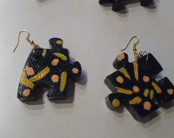 Recycled wood puzzle earrings