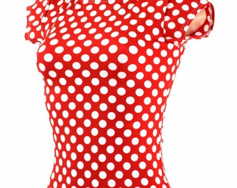 Full Length Cap Sleeve Top with Crew Neckline in Red and White Polka Dot Minnie Retro Pinup Old-Fashioned 154568