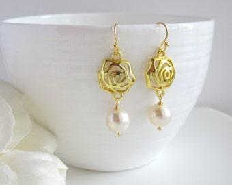 Lovely Rose Flower Modern Dangle Drop Earrings. 14k Gold Filled Earwire White Swarovski Pearls Ear Accessory. Bridal Wedding. Simple Gift