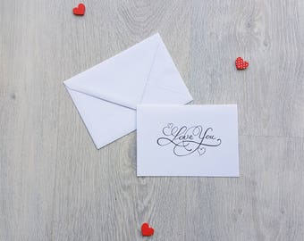 Valentine card love card, I love you card, card handmade, personalized card, card and envelope, greeting card