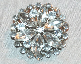 Large Rhinestone Brooch, Clear Silver, Vintage old jewelry